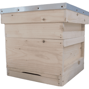 National beehive in pine, floor, brood box, super box, roof and crown board